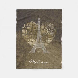 ハートのエッフェル塔|の金銘刻文字パリ フリースブランケット