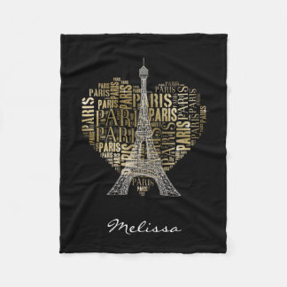 ハートのエッフェル塔 の金銘刻文字パリ フリースブランケット