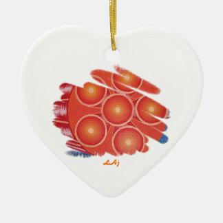 ハートのオレンジチャクラの渦のオーナメント 陶器製ハート型オーナメント