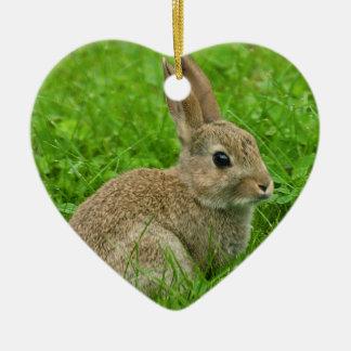 ハートのオーナメントのためのヨーロッパウサギのイメージ セラミックオーナメント