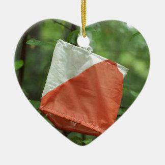 ハートのオーナメント- orienteering旗 セラミックオーナメント