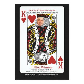 ハートのカジノ夜写真の招待状の王 カード