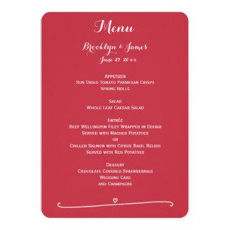 ハートのカスタムで赤い結婚式メニュー 12.7 X 17.8 インビテーションカード