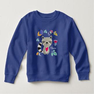 ハートのカスタムな幼児スエットシャツを持つおもしろいなアライグマ スウェットシャツ
