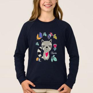 ハートのカスタムの子供のスエットシャツを持つおもしろいなアライグマ スウェットシャツ