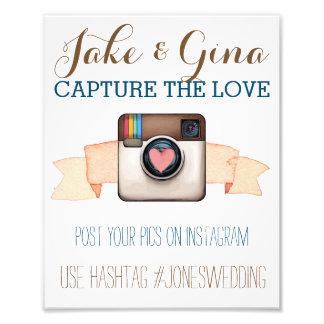ハートのカメラのInstagramの水彩画のHashtagポスター フォトプリント