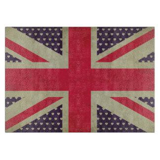 ハートのガラスまな板が付いている英国国旗の旗 カッティングボード