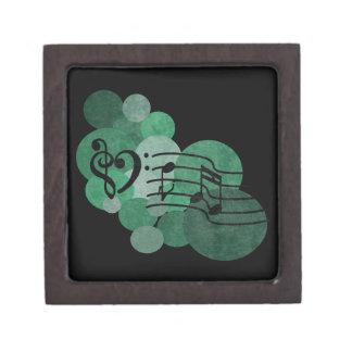 ハートのクレフ、音符記号、音楽はターコイズの水玉模様に注意します ギフトボックス