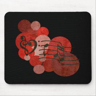 ハートのクレフ、音符記号、音楽ノート + 赤い水玉模様 マウスパッド