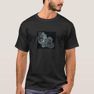 ハートのクレフ、音符記号、音楽ノート + 銀製灰色の水玉模様 Tシャツ