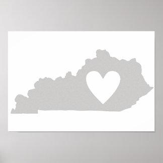 ハートのケンタッキーの州のシルエット ポスター