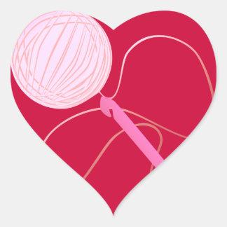 ハートのステッカーをかぎ針で編む愛 ハートシール