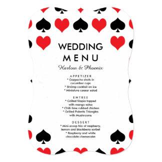 ハートのスペードカジノの結婚式メニュー カード