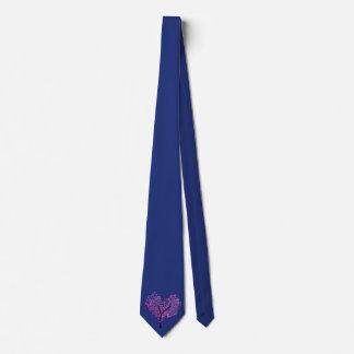 ハートのタイの真夜中の青いそして木 オリジナルネクタイ