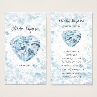 ハートのダイヤモンドの水彩画の名刺 名刺