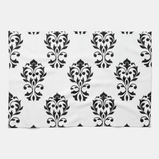 ハートのダマスク織の白の大きいPtnの黒 キッチンタオル