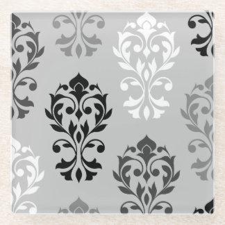 ハートのダマスク織の芸術Iの黒い灰色白 ガラスコースター