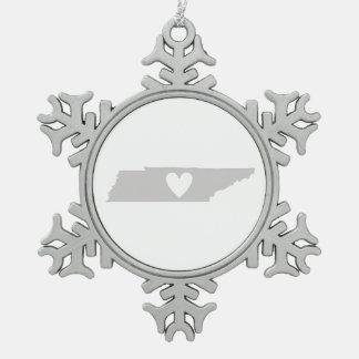 ハートのテネシー州の州のシルエット スノーフレークピューターオーナメント
