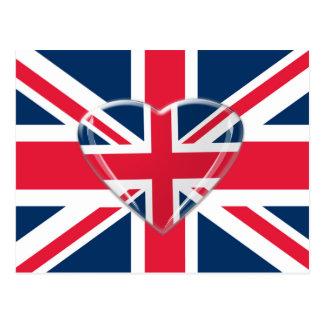 ハートのデザインの英国国旗の旗 ポストカード