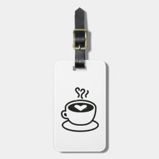 ハートのデザイン(擦り切れたなスタイル)の熱いコーヒーカップ ラゲッジタグ