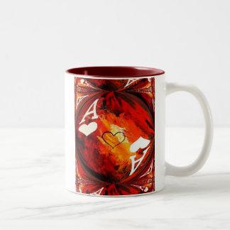 ハートのトランプのポーカーの芸術のコーヒー・マグのエース ツートーンマグカップ