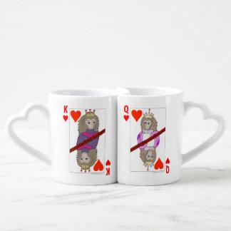 ハートのトランプの猿王そして女王 ペアカップ