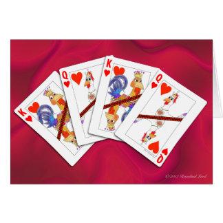 ハートのトランプの鶏王そして女王 カード