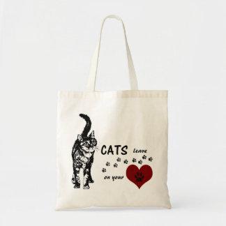 ハートのトートバックのGreyfoot猫の救助の足のプリント トートバッグ