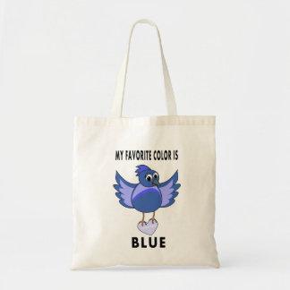 ハートのトートバックを運んでいるかわいい漫画のブルーバード トートバッグ