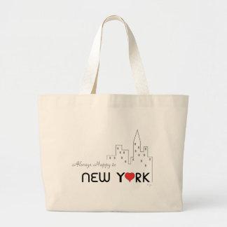ハートのニューヨークで常に幸せ ラージトートバッグ