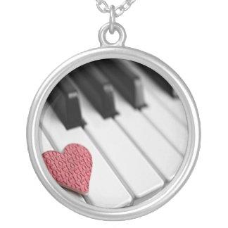 ハートのネックレスのためのピアノ鍵 シルバープレートネックレス