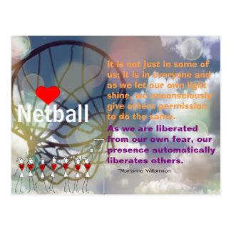 ハートのネットボールのデザインおよび感動的な引用文 ポストカード