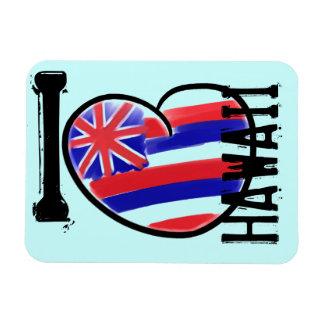 ハートのハワイの州の旗の芸術的な長方形の磁石 マグネット