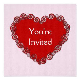 ハートのバレンタインのパーティの招待状 カード