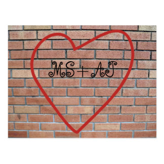 ハートのバレンタインの郵便はがきの恋人のイニシャル ポストカード