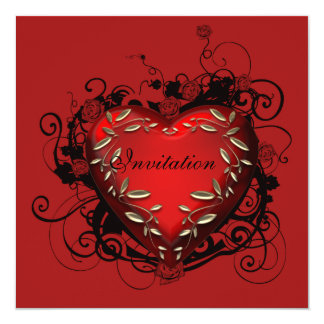 ハートのバレンタインデーのパーティの招待状 カード
