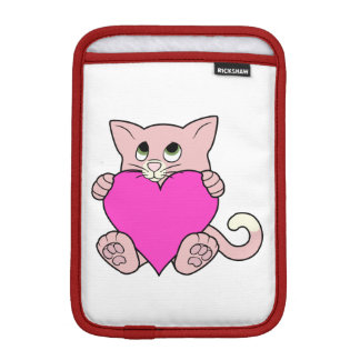ハートのバレンタインデーのピンク猫 iPad MINIスリーブ
