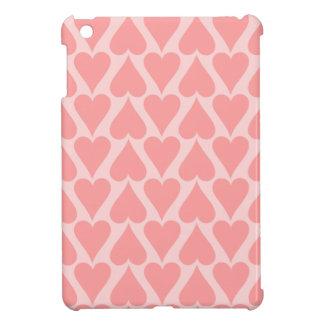 ハートのバレンタインデーの背景の珊瑚のピンク iPad MINIケース