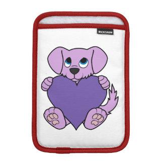 ハートのバレンタインデーの薄紫の犬 iPad MINIスリーブ