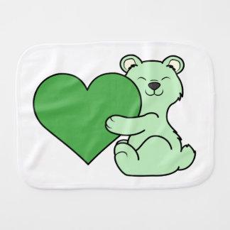 ハートのバレンタインデーの薄緑のくま バープクロス