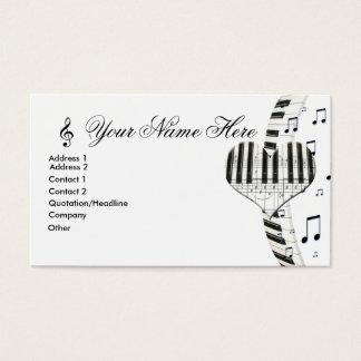 ハートのピアノキーボードおよび音楽ノート 名刺