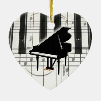 ハートのピアノキーボードのオーナメント セラミックオーナメント