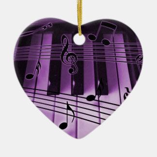 ハートのピアノキーボードのクリスマスのクリスマスのオーナメント セラミックオーナメント