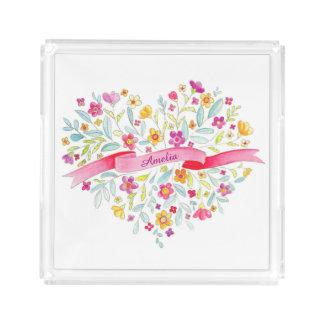 ハートのピンクの黄色い水の名前の水彩画の皿を開花して下さい アクリルトレー
