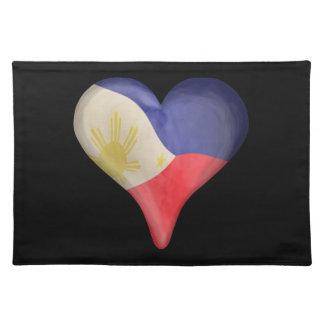 ハートのフィリピンの旗 ランチョンマット