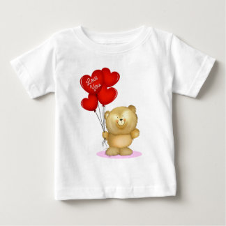 ハートのブランデーグラスを保持しているテディー・ベア愛して下さい ベビーTシャツ