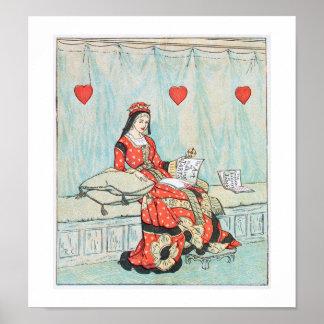 ハートのプリントのランドルフ旧式なCaldecottの女王 ポスター