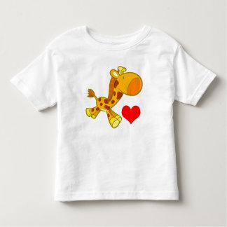 ハートのベクトル漫画のキリン トドラーTシャツ