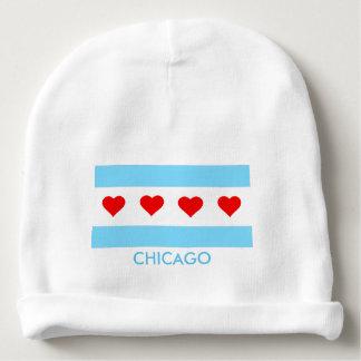 ハートのベビーの帽子が付いているシカゴの旗 ベビービーニー