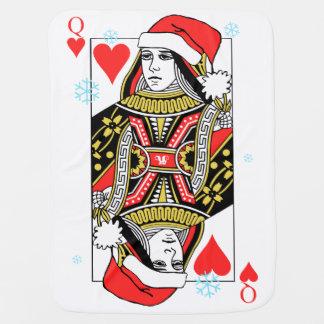ハートのメリークリスマスの女王 ベビー ブランケット